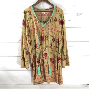 VELZERA Tassel Tunic Tan Red Green Floral Top
